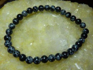 Bracelet Obsidienne neige perles rondes de 6 mm