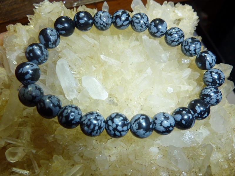 Bracelet Obsidienne neige perles rondes de 8mm