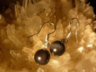 Boucles d'oreilles d'Obsidienne oeil celeste 8 mm