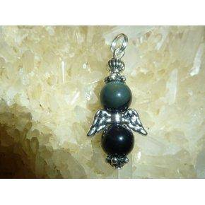 Pendentif obsidienne oeil celeste - perles rondes 8 mm protection ange