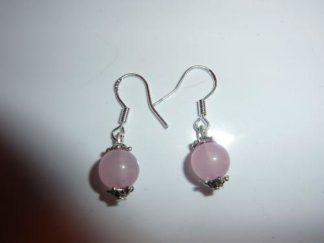Boucles d'oreilles pierres naturelles quartz rose perles rondes 8mm
