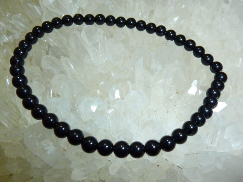 Bracelet tourmaline noire perles rondes 4mm