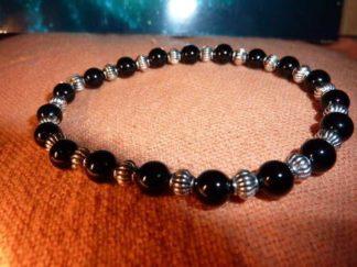 Bracelet tourmaline noire perles rondes 6mm et plaqué argent