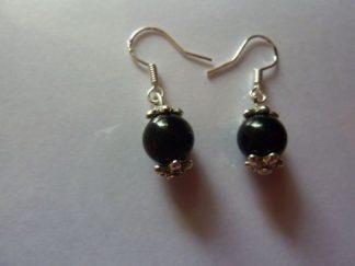 Boucles d'oreilles Tourmaline noire - Perles rondes 8 mm