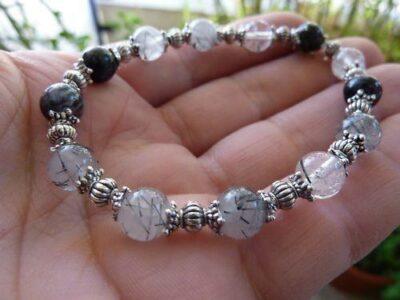 Bracelet quartz tourmaliné noire perles rondes 8mm et plaqué argent