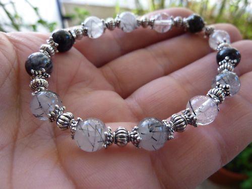 Bracelet quartz tourmaliné perles rondes 8mm et plaqué argent
