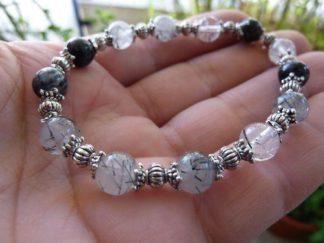 Bracelet quartz tourmaliné noire perles rondes 6mm et plaqué argent