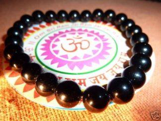 Bracelet protection: tourmaline noire perles rondes 8 mm