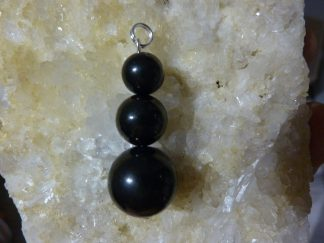 PENDENTIF SHUNGITE : PERLES 16-12-10 MM TOP PROTECTION