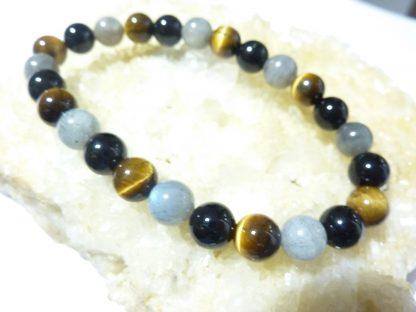 Bracelet protection Oeil de tigre Labradorite Tourmaline noire perles rondes 8 mm