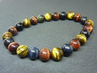 Bracelet Oeil de tigre-oeil de Faucon-oeil de Taureau - Perles rondes 8 mm