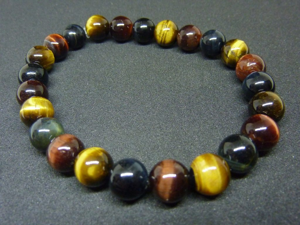 Bracelet oeil de tigre, oeil de Faucon, oeil de Taureau - Perles rondes 8 mm