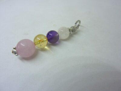 Pendentif citrine-pierre de lune-améthyste-quartz rose joie tendresse intuition