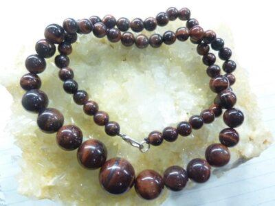 Collier oeil de taureau - Perles rondes 14-12-6 mm