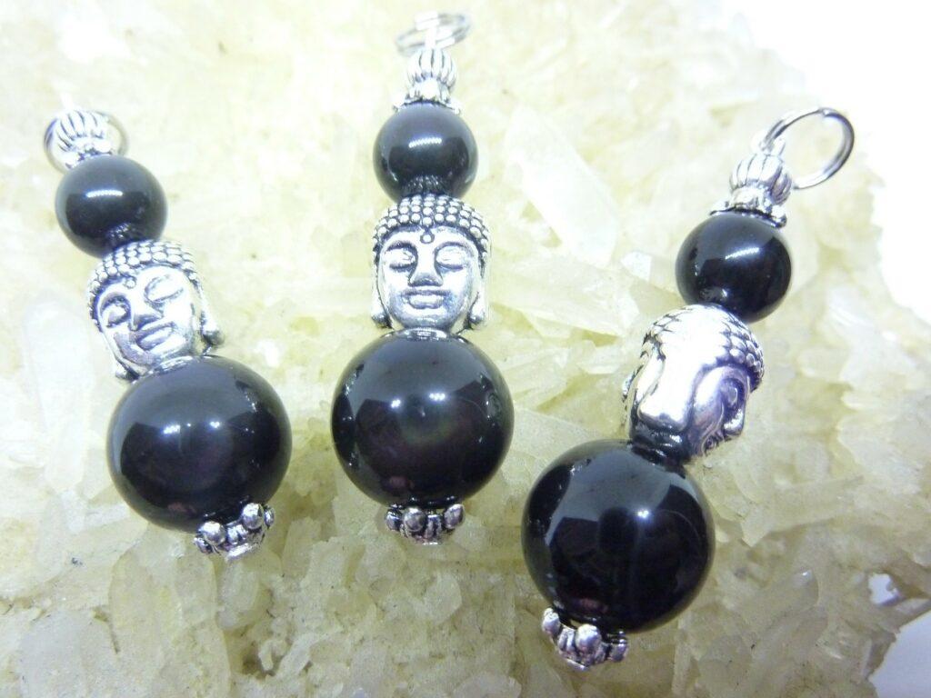 Pendentif Obsidienne oeil celeste protection Bouddha