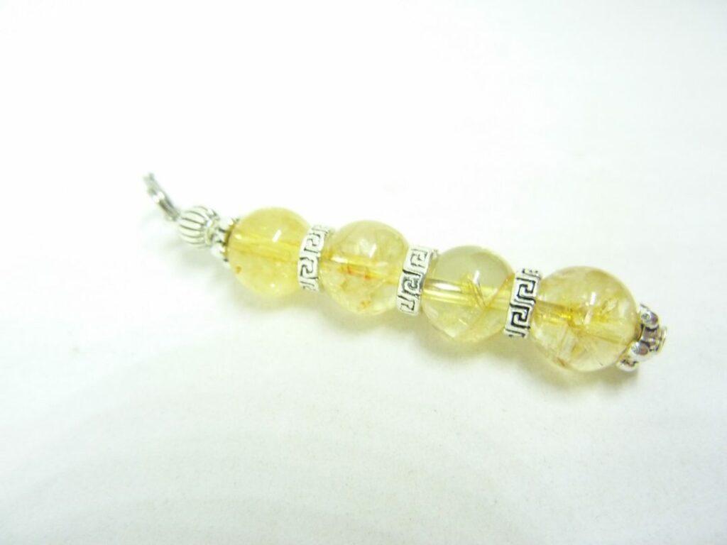 PENDENTIF CITRINE perles rondes 8 mm