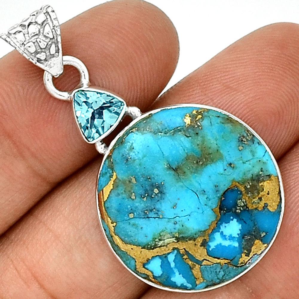 Pendentif turquoise   topaze bleu monture en argent 925 ref 9438 319a52859a78