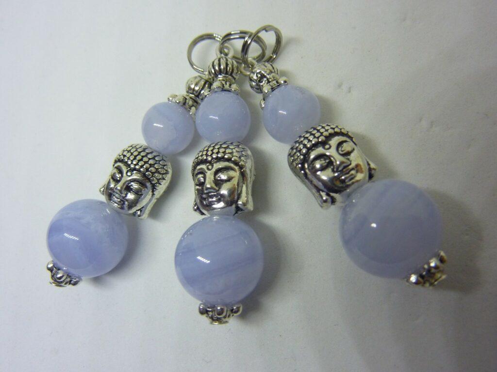 Pendentif Bouddha Zénitude calcédoine bleue