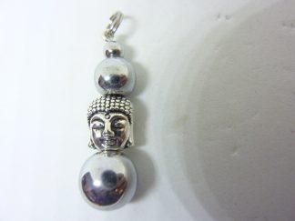 Pendentif Bouddha Hématite Perles rondes 10-8-4 mm L 3,5 cm