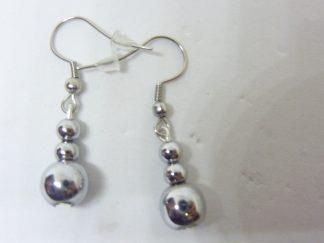 Boucles d'oreilles Hématite Perles rondes 8-4 mm L 3,5 cm