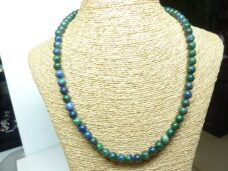 Collier Chrysocolle Azurite - Perles rondes 8 mm