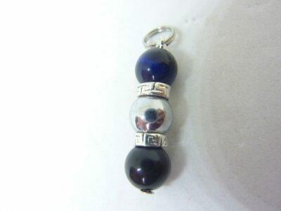 Pendentif obsidienne oeil céleste-oeil de faucon-hématite perles rondes 8 mm