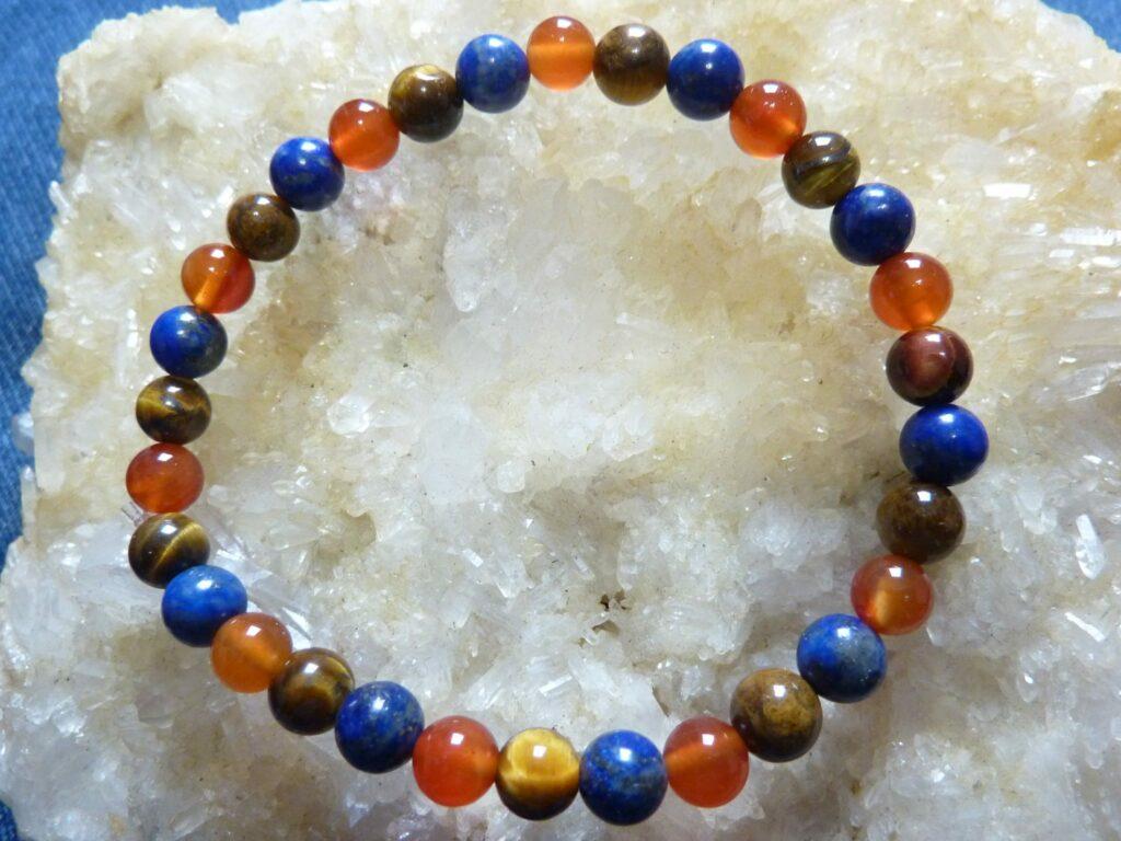 Bracelet lapis lazuli-cornaline-oeil de tigre - Perles rondes 6 mm
