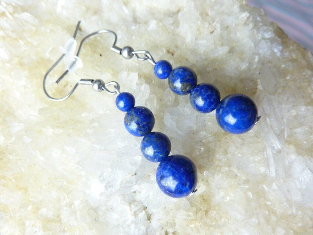 Boucles d'oreilles Lapis lazuli-Perles rondes 8-6-4 mm