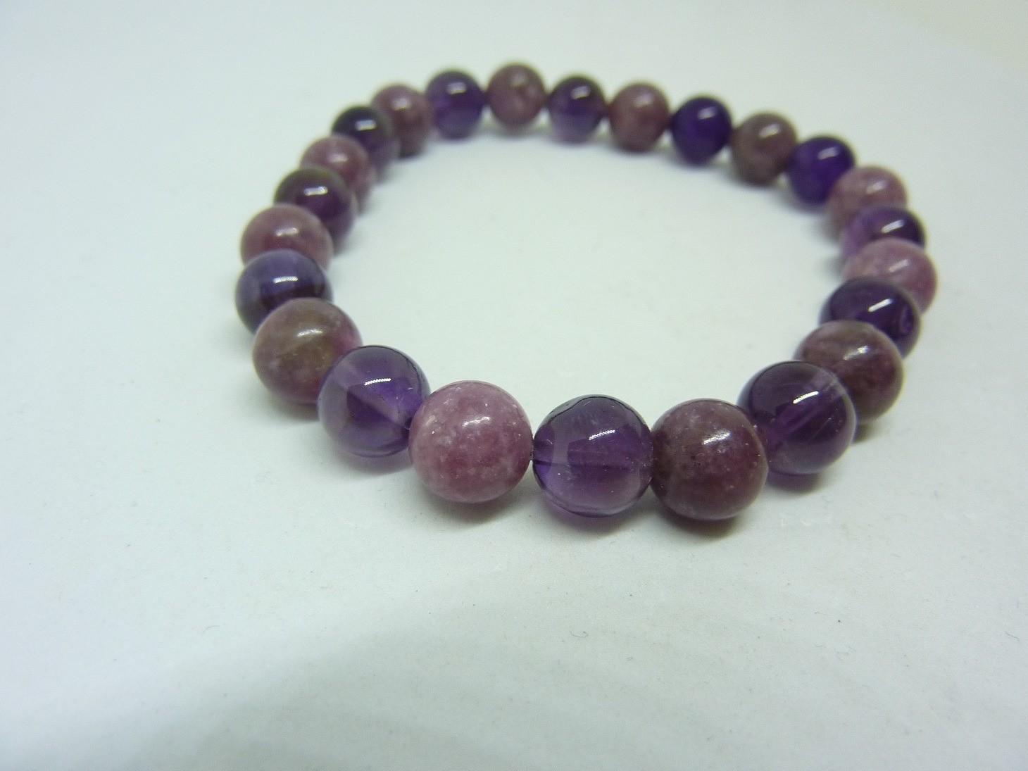 Bracelet anti stress Lépidolite-Améthyste perles rondes 8 mm