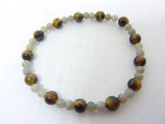 Bracelet protection Oeil de tigre-Labradorite perles rondes 6-4 mm