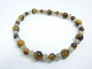 Bracelet oeil de tigre-labradorite perles rondes 6-4 mm