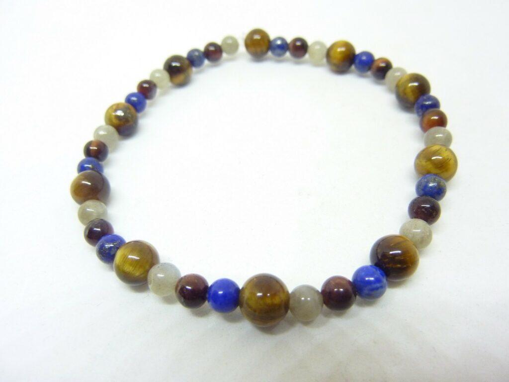 Bracelet Oeil de tigre-oeil de taureau-Labradorite-Lapis lazuli
