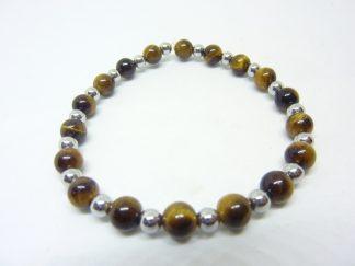 Bracelet Oeil de tigre-Hématite-Perles rondes 6-4 mm