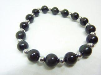 Bracelet Obsidienne oeil céleste-Hématite - perles rondes 8-4 mm
