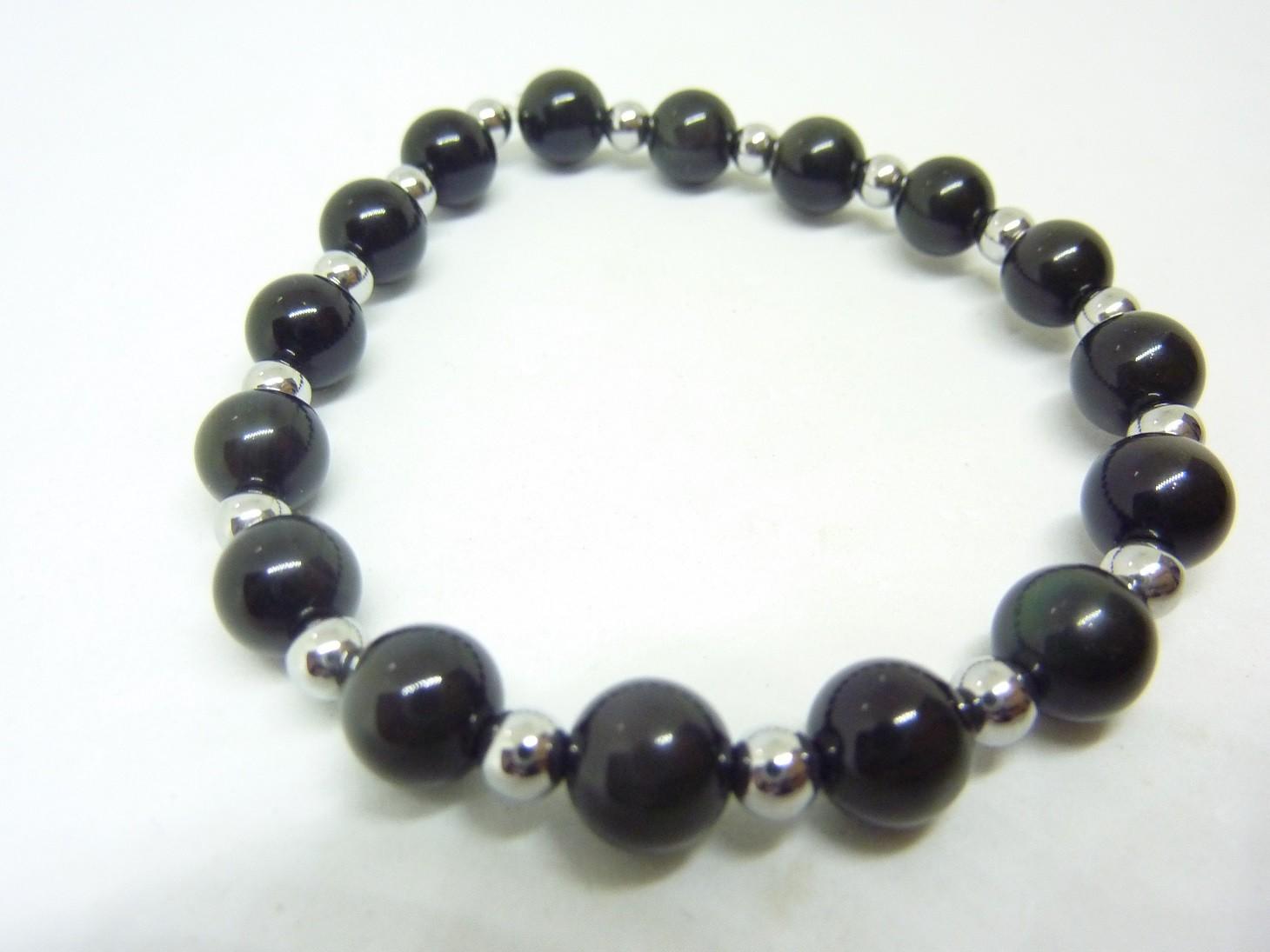 "Bracelet Obsidienne Oeil Céleste 8 mm /""Large/"""