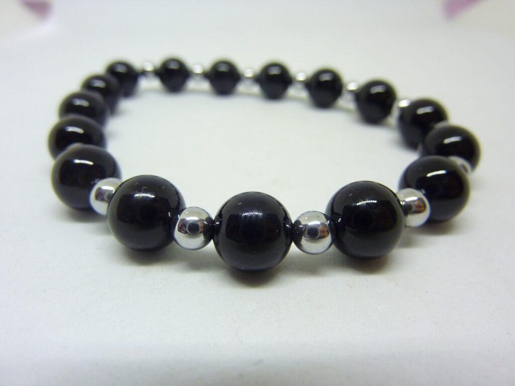 Bracelet Tourmaline noire- Hématite - Perles rondes 8-4 mm