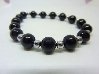 BRACELET PROTECTION: HEMATITE,TOURMALINE NOIR 8-4 MM
