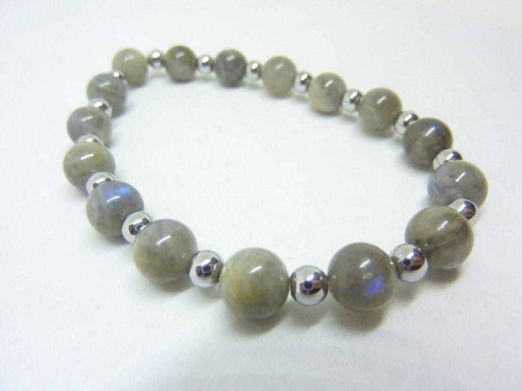 Bracelet Labradorite-Hématite-Perles rondes 8-4 mm