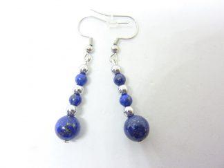 Boucles d'oreilles Lapis lazuli-Hématite-Perles rondes 8-4 mm