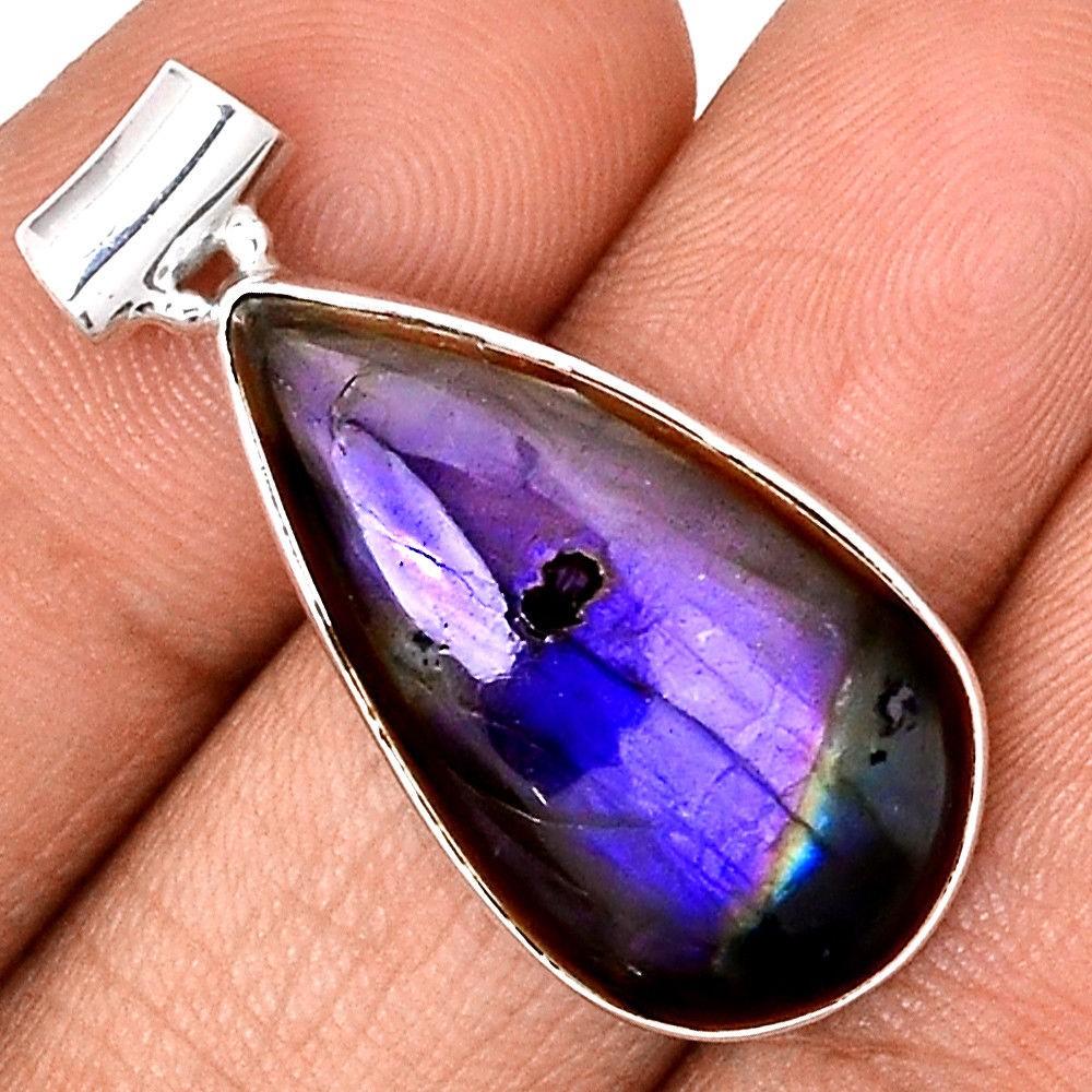 Pendentif protection labradorite violet très rare! Monture argent 925 ref 9464