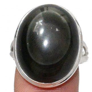 Bague protection obsidienne oeil celeste argent 925 taille 61 ref 7397
