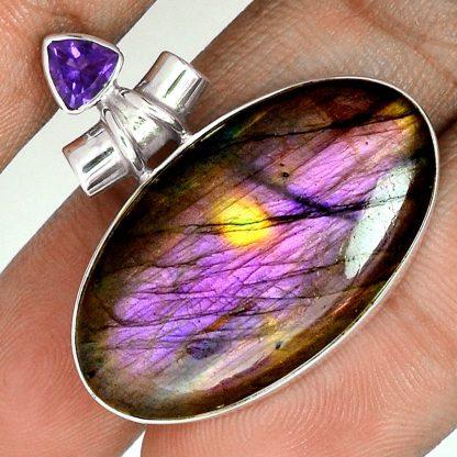 Pendentif labradorite violet-Améthyste monture argent 925 ref 4706