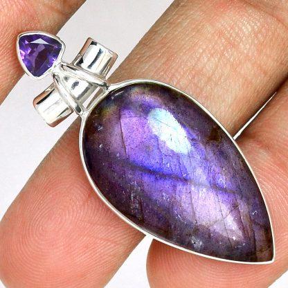 Pendentif labradorite violet-Améthyste monture argent 925 ref 8992
