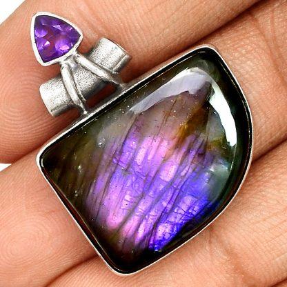 Pendentif labradorite violet-Améthyste monture argent 925 ref 4649
