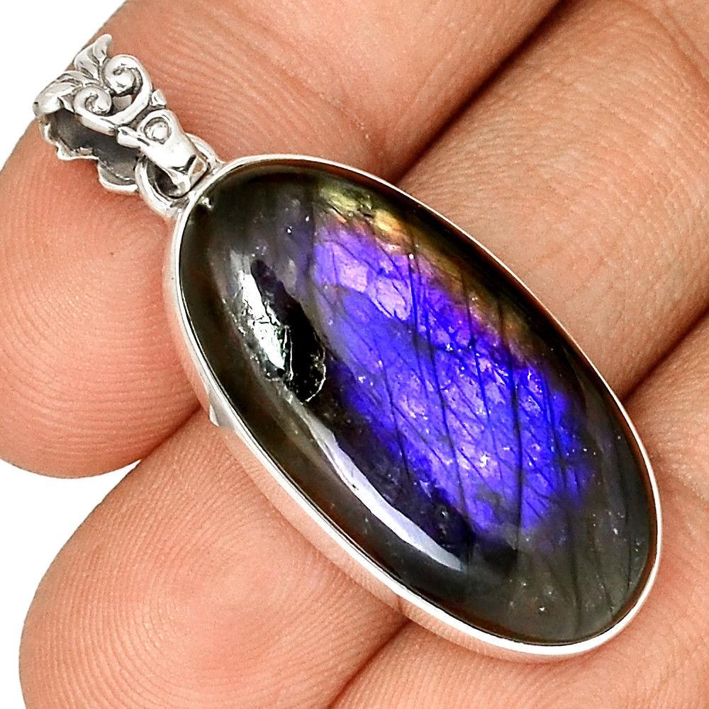 Pendentif protection labradorite violet très rare! Monture argent 925 ref 4884