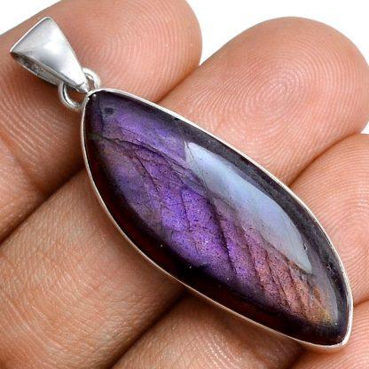 Pendentif labradorite violet très rare! Monture argent 925 ref 5344