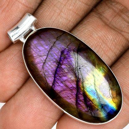Pendentif labradorite violet très rare! Monture argent 925 ref 9614