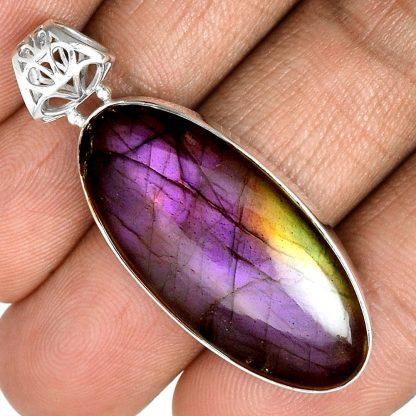 Pendentif labradorite violet très rare! Monture argent 925 ref 5523