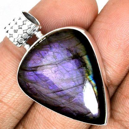 Pendentif labradorite violet très rare! Monture argent 925 ref 9576