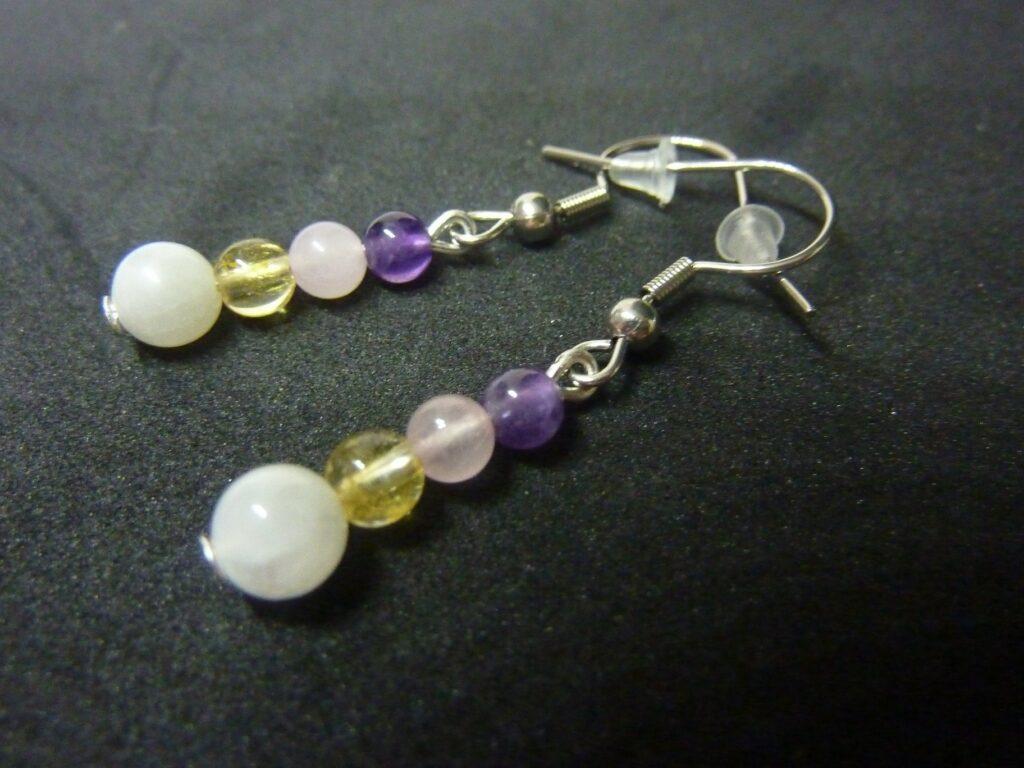 Boucles d'oreilles citrine-pierre de lune-améthyste-quartz rose joie tendresse